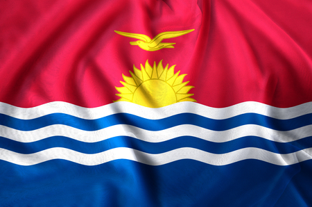 Kiribati modern and realistic closeup flag illustration. Perfect for background or texture purposes.