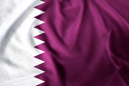 Qatar modern and realistic closeup flag illustration. Perfect for background or texture purposes.