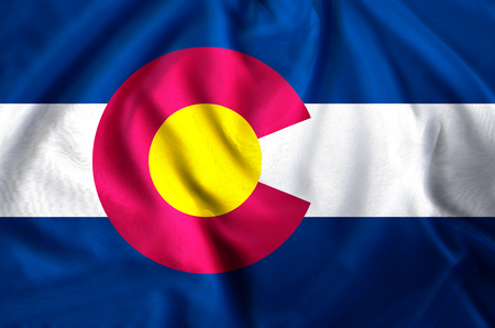 Colorado modern and realistic closeup flag illustration. Perfect for background or texture purposes.