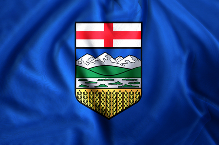 Alberta modern and realistic closeup flag illustration. Perfect for background or texture purposes.