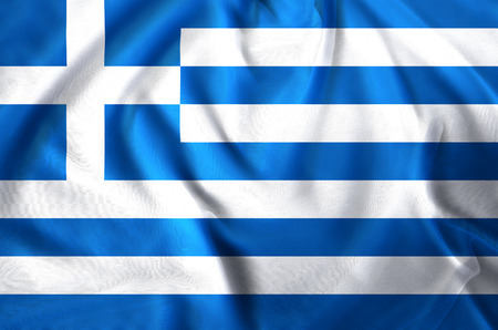 Greece modern and realistic closeup flag illustration. Perfect for background or texture purposes. Stock Photo