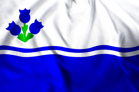 Drapeau Du Lac-Saint-Jean modern and realistic closeup flag illustration. Perfect for background or texture purposes. Stock Photo