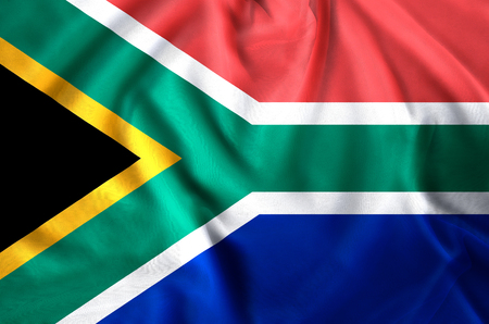 South Africa modern and realistic closeup flag illustration. Perfect for background or texture purposes. Imagens