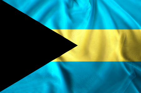 Bahamas modern and realistic closeup flag illustration. Perfect for background or texture purposes.