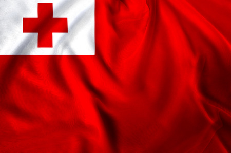 Tonga modern and realistic closeup flag illustration. Perfect for background or texture purposes. Stock Photo