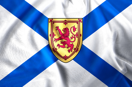 Nova Scotia modern and realistic closeup flag illustration. Perfect for background or texture purposes.