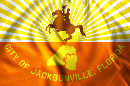 Jacksonville Florida modern and realistic closeup flag illustration. Perfect for background or texture purposes. Stock Illustration - 113792389