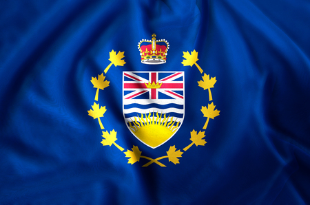 Lieutenant-Governor Of British Columbia modern and realistic closeup flag illustration. Perfect for background or texture purposes. Фото со стока