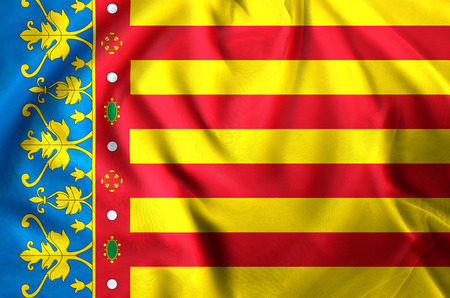 Valencia modern and realistic closeup flag illustration. Perfect for background or texture purposes. 写真素材