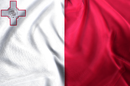 Malta modern and realistic closeup flag illustration. Perfect for background or texture purposes. 스톡 콘텐츠