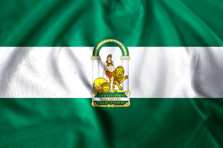 Andalucia modern and realistic closeup flag illustration. Perfect for background or texture purposes.