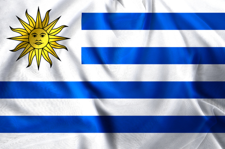 Uruguay modern and realistic closeup flag illustration. Perfect for background or texture purposes.