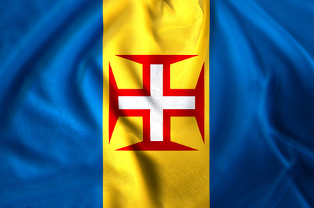 Madeira modern and realistic closeup flag illustration. Perfect for background or texture purposes. Banco de Imagens - 113790772