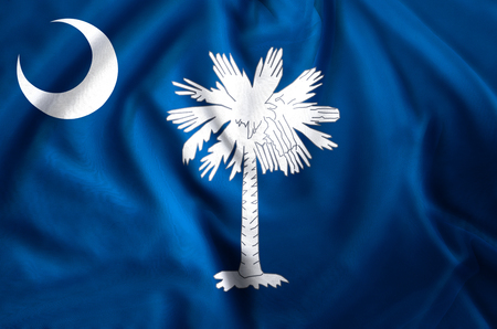 South Carolina modern and realistic closeup flag illustration. Perfect for background or texture purposes. Banco de Imagens