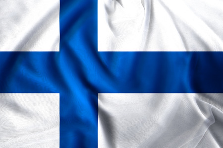 Finland modern and realistic closeup flag illustration. Perfect for background or texture purposes. Stock Photo