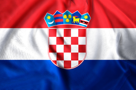 Croatia modern and realistic closeup flag illustration. Perfect for background or texture purposes. Stock Illustration - 113789520