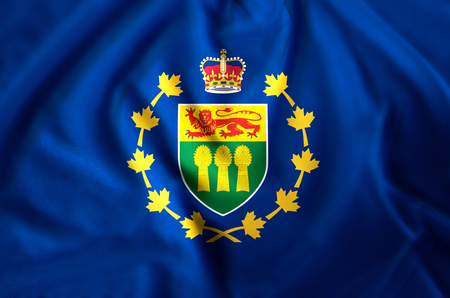 Lieutenant-Governor Of Saskatchewan modern and realistic closeup flag illustration. Perfect for background or texture purposes. Stock fotó