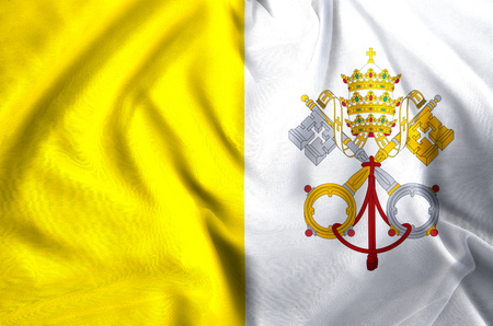 Vatican modern and realistic closeup flag illustration. Perfect for background or texture purposes.