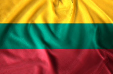 Lithuania modern and realistic closeup flag illustration. Perfect for background or texture purposes.