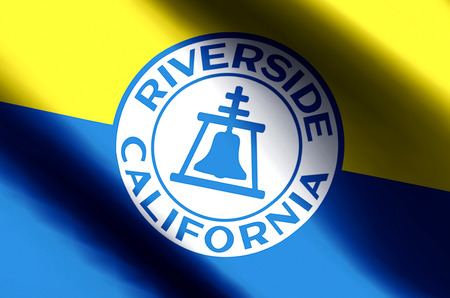 Riverside California stylish waving and closeup flag illustration. Perfect for background or texture purposes. 写真素材