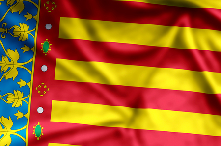 Valencia stylish waving and closeup flag illustration. Perfect for background or texture purposes.