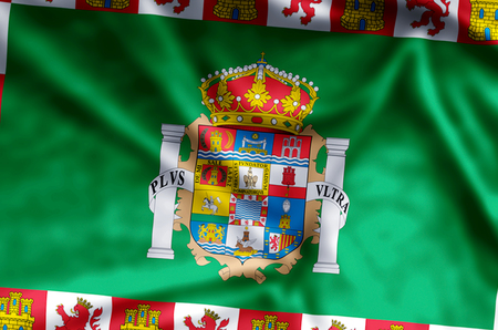 Cadiz stylish waving and closeup flag illustration. Perfect for background or texture purposes. 写真素材