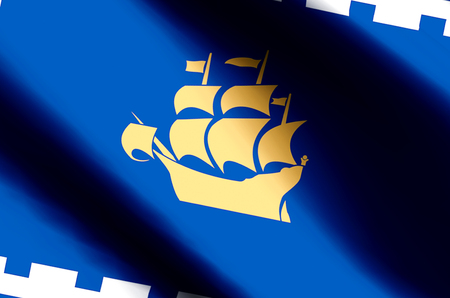 Quebec City stylish waving and closeup flag illustration. Perfect for background or texture purposes. Imagens