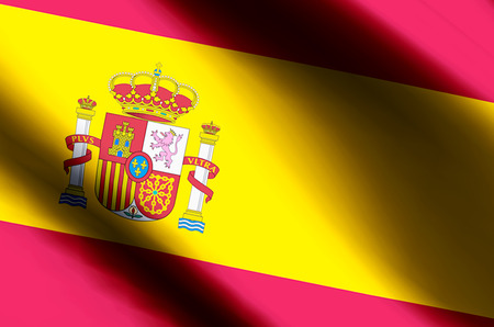 Spain stylish waving and closeup flag illustration. Perfect for background or texture purposes. 版權商用圖片