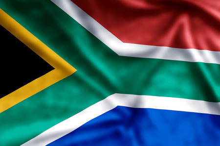 South Africa stylish waving and closeup flag illustration. Perfect for background or texture purposes.