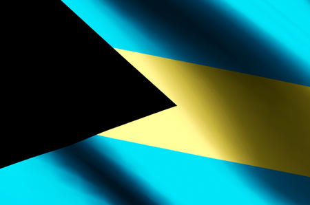 Bahamas stylish waving and closeup flag illustration. Perfect for background or texture purposes.