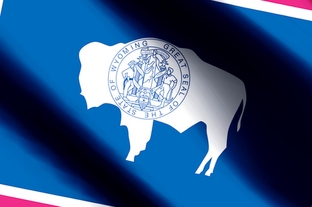 Wyoming stylish waving and closeup flag illustration. Perfect for background or texture purposes.
