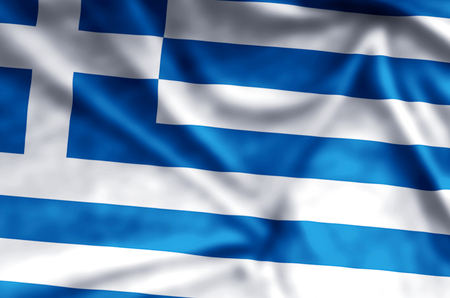 Greece stylish waving and closeup flag illustration. Perfect for background or texture purposes.