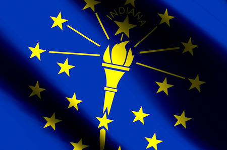 Indiana stylish waving and closeup flag illustration. Perfect for background or texture purposes.