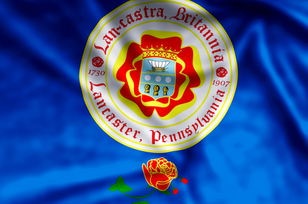 Lancaster Pennsylvania stylish waving and closeup flag illustration. Perfect for background or texture purposes.