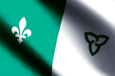 Franco-Ontarian stylish waving and closeup flag illustration. Perfect for background or texture purposes.
