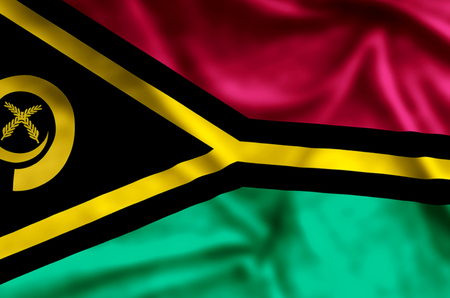 Vanuatu stylish waving and closeup flag illustration. Perfect for background or texture purposes.