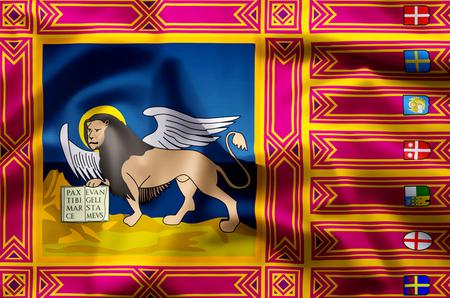 Veneto stylish waving and closeup flag illustration. Perfect for background or texture purposes. Фото со стока