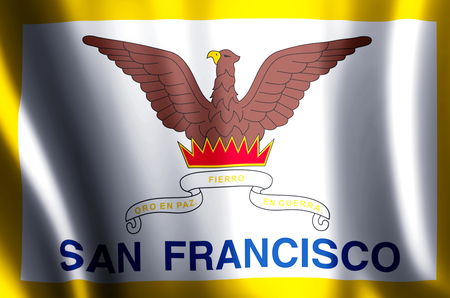 San Francisco stylish waving and closeup flag illustration. Perfect for background or texture purposes. 写真素材 - 119120227
