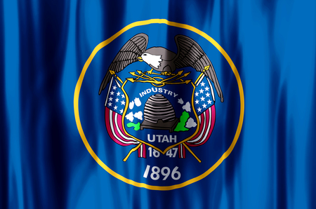 Utah stylish waving and closeup flag illustration. Perfect for background or texture purposes.