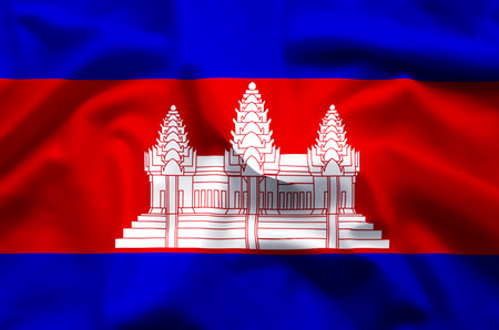 Cambodia stylish waving and closeup flag illustration. Perfect for background or texture purposes.