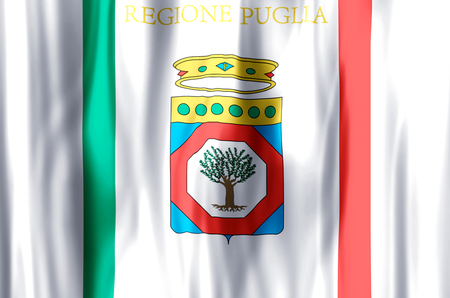 Apulia stylish waving and closeup flag illustration. Perfect for background or texture purposes. Reklamní fotografie