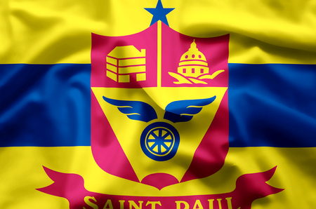 St. Paul Minnesota stylish waving and closeup flag illustration. Perfect for background or texture purposes.