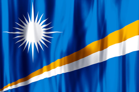 Marshall Islands stylish waving and closeup flag illustration. Perfect for background or texture purposes.