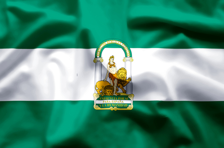 Andalucia stylish waving and closeup flag illustration. Perfect for background or texture purposes.