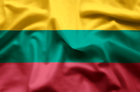 Lithuania stylish waving and closeup flag illustration. Perfect for background or texture purposes. 版權商用圖片