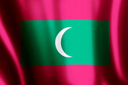 Maldives stylish waving and closeup flag illustration. Perfect for background or texture purposes. 写真素材