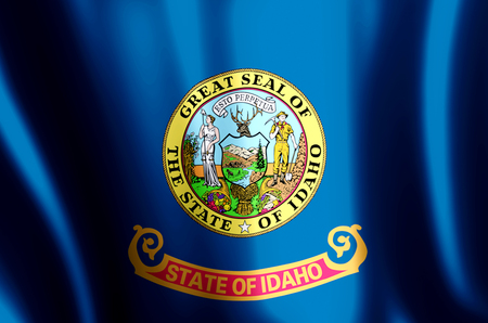 Idaho stylish waving and closeup flag illustration. Perfect for background or texture purposes. 写真素材