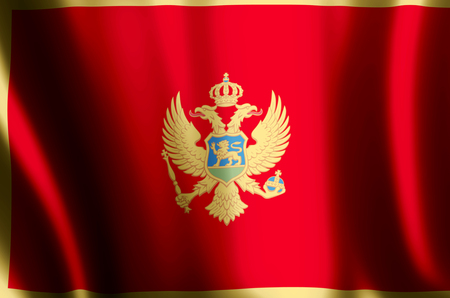 Montenegro stylish waving and closeup flag illustration. Perfect for background or texture purposes.