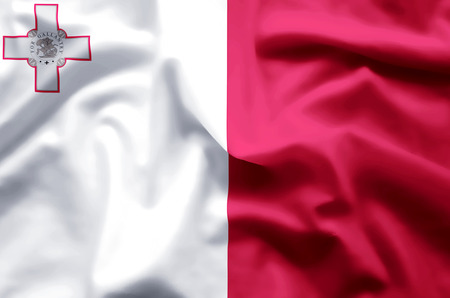 Malta stylish waving and closeup flag illustration. Perfect for background or texture purposes. 스톡 콘텐츠
