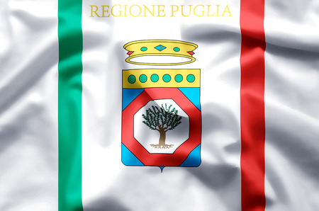 Apulia stylish waving and closeup flag illustration. Perfect for background or texture purposes. Reklamní fotografie - 119142287
